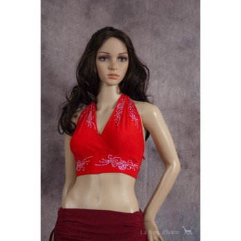 Top Halter, rouge - argenté