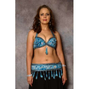 Costume noir - bleu turquoise, finitions strass, occasion